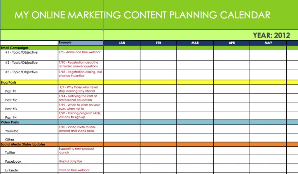 Online Marketing Content & Message Planning Calendar