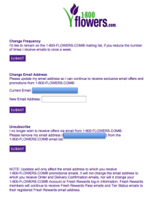1-800 Flowers Email Unsubscribe Page 2013