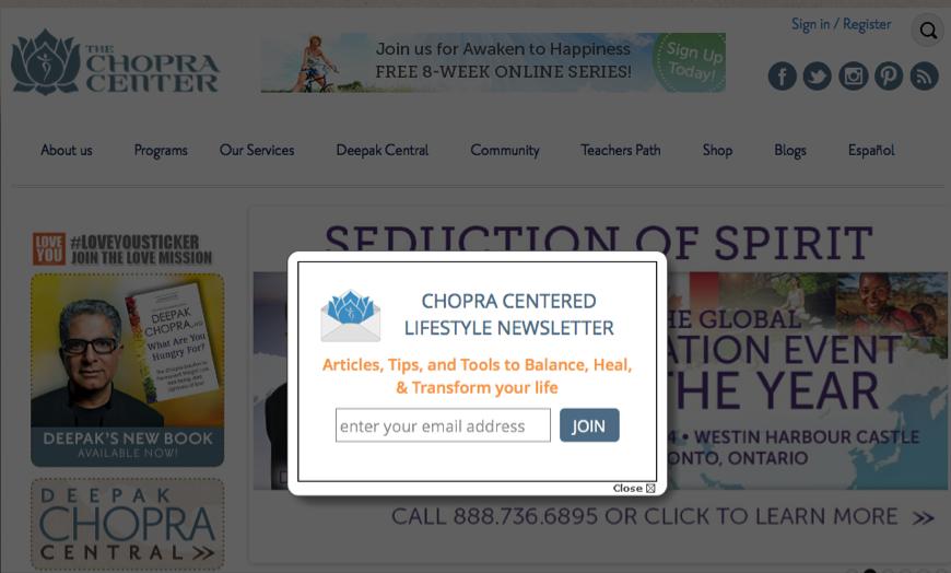 Deepak Chopra Center email list growth lightbox