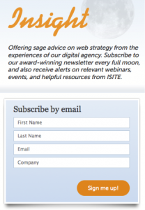 iSite Design Newsletter Opt-In Form