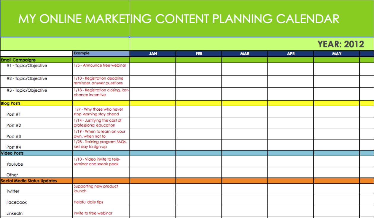 Online Marketing Content Message PlannerSynchronicity Marketing - Sample marketing calendar