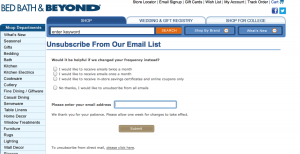 Bed Bath & Beyond Email Unsubscribe Page 2013