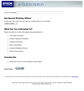 Epson Email Unsubscribe Page 2013