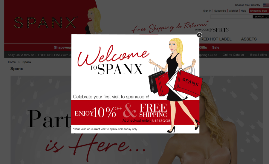 Spanx Email List Growth Lightbox