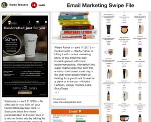 Pinterest Email Swip File Board